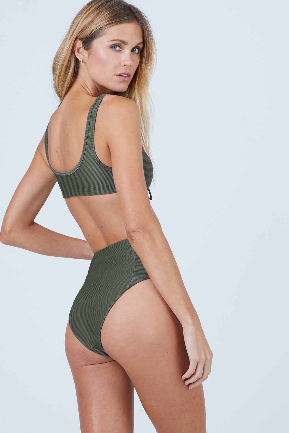 Leah High Waisted Bikini Bottom - Forest Green Rib