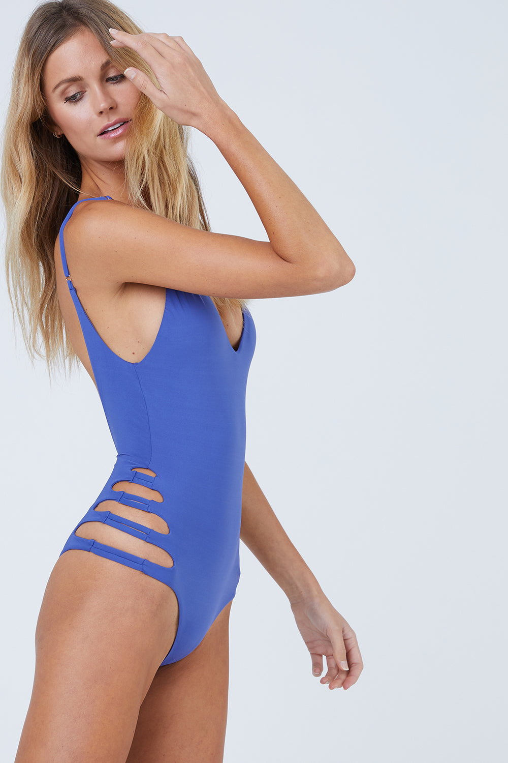 Sun Crater Side Cut Outs One Piece Swimsuit - Sodalite Blue