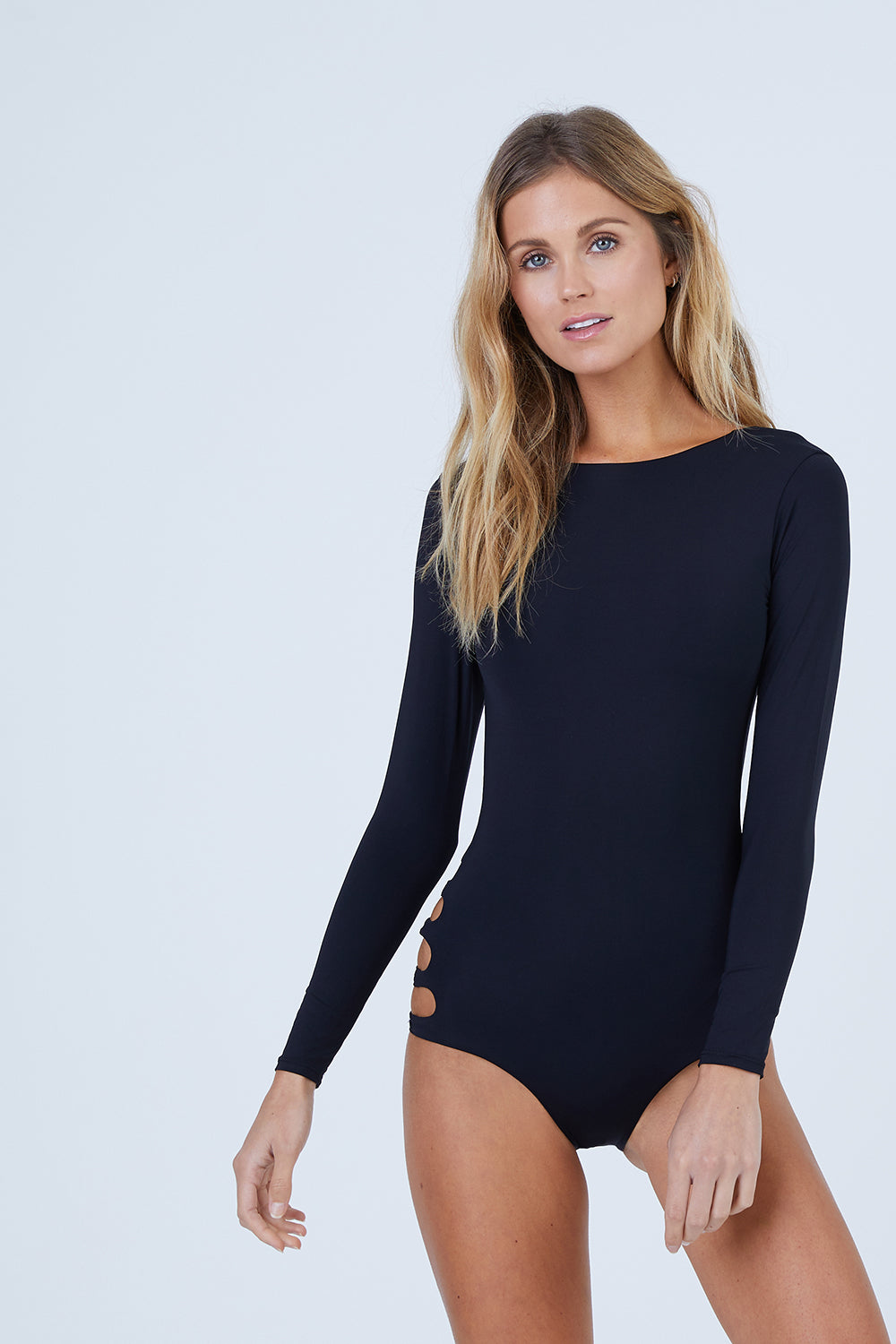 Long Sleeve One Piece Swimsuit - Black