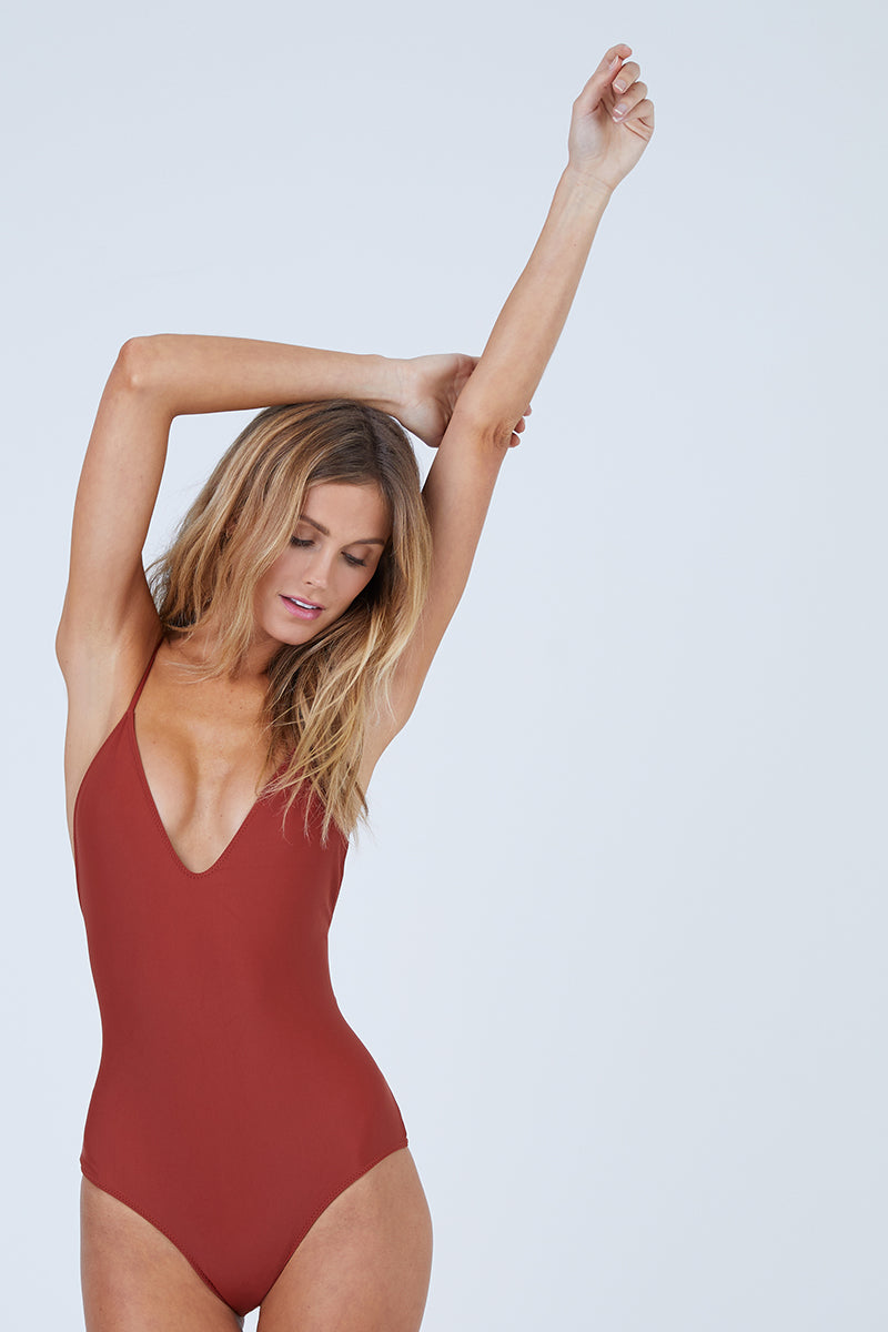 Mickey Plunging Scoop Back One Piece Swimsuit - Canyon Red