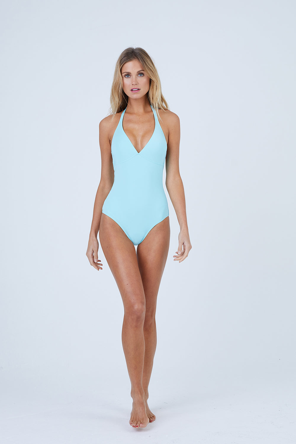 Fames Deep V Halter One Piece Swimsuit - Lagoon Blue