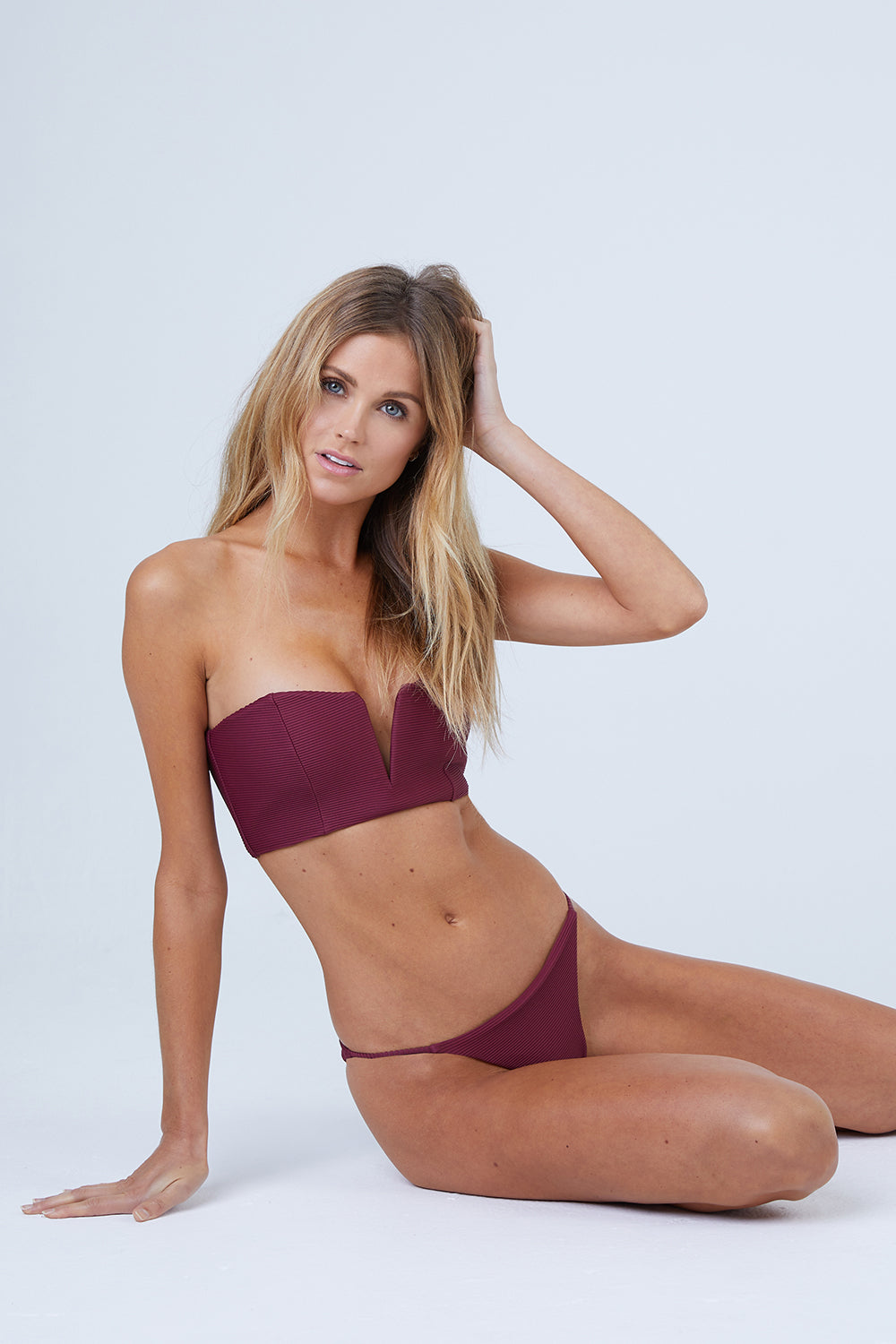 Julie V-Wire Bandeau Bikini Top - Maroon Red