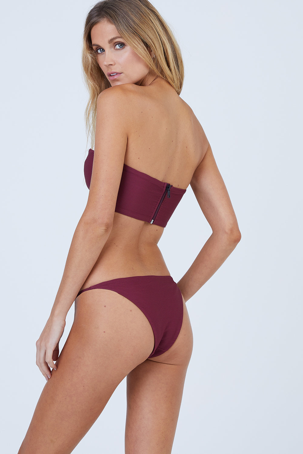 Rochelle Thin Side Strap Bikini Bottom - Maroon Red