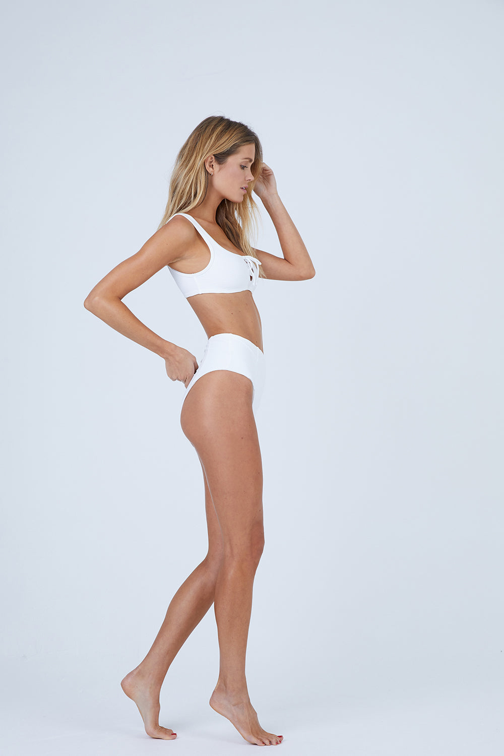Leah Ribbed High Waisted Bikini Bottom - Marshmallow White