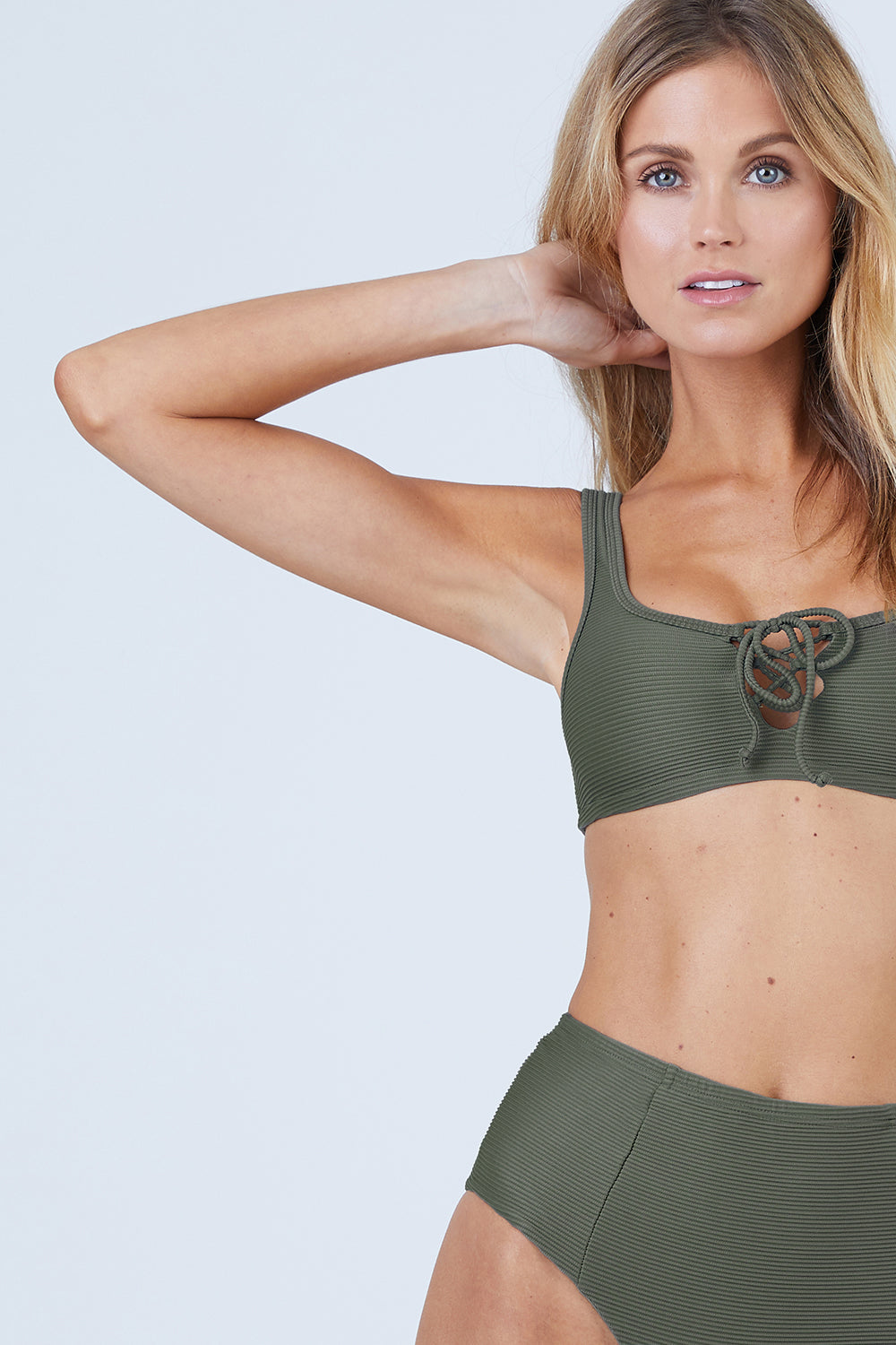 00b4b87c6de98 ONIA Erin Lace Up Front Bikini Top - Forest Green Rib - undefined undefined  ...