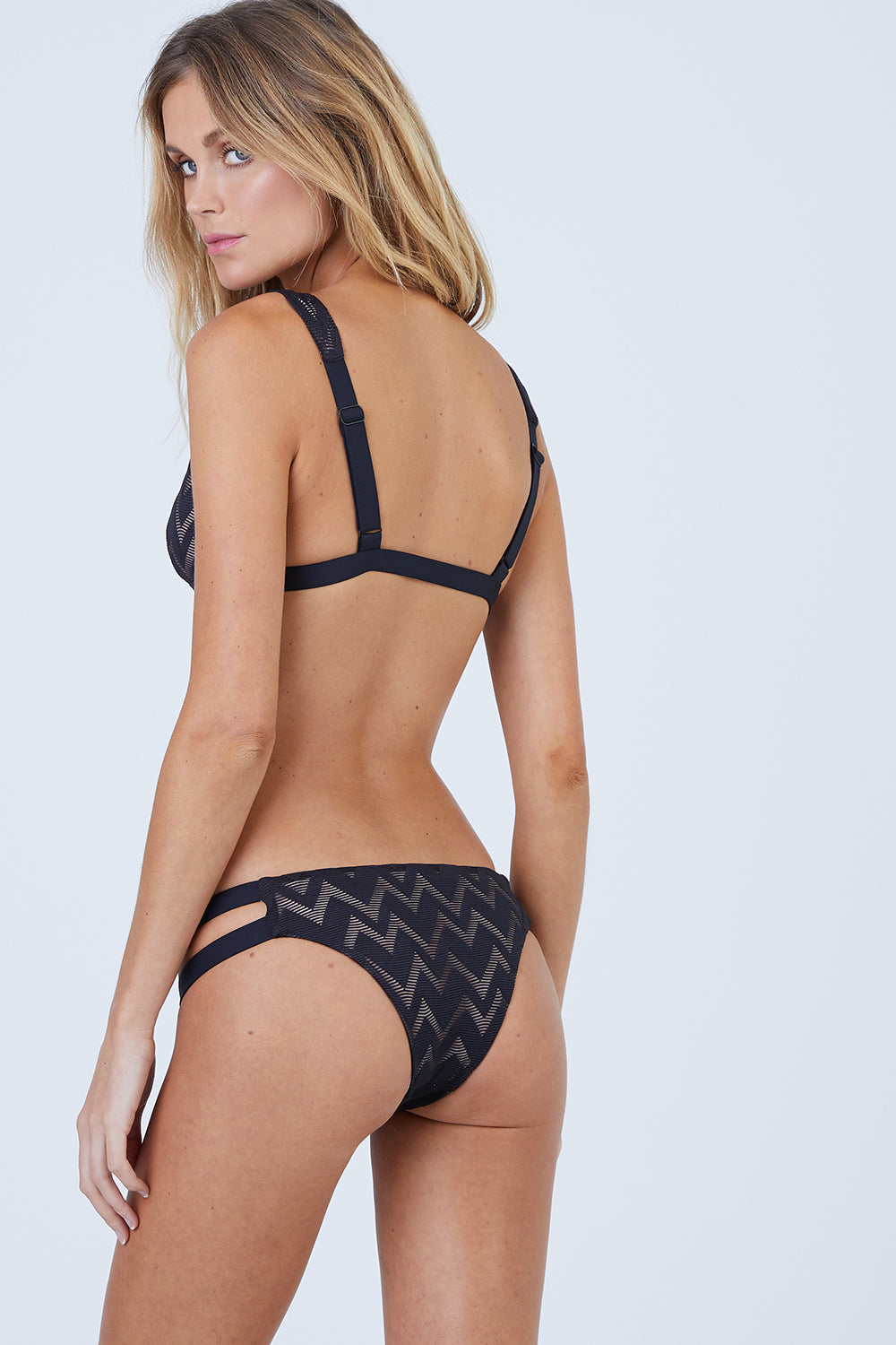 Chloe Textured Double Strap Cut Out Minimal Bikini Bottom - Black Chevron Print
