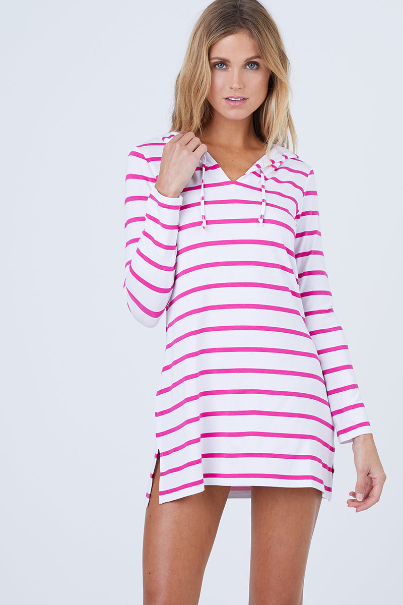 Nancy Hooded Cover Up - Raspberry Pink Stripe