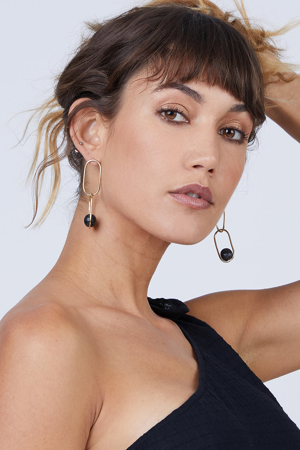 Large Linked Sawa Drop Earrings - Black