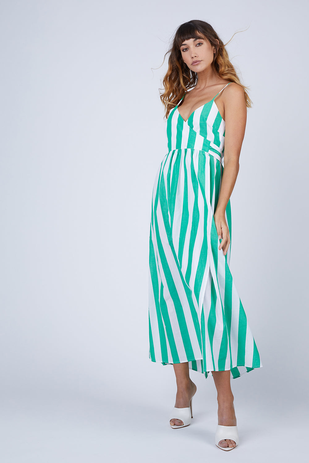 Alma Wrap Maxi Dress - Bungalow  Green & White Stripe Print