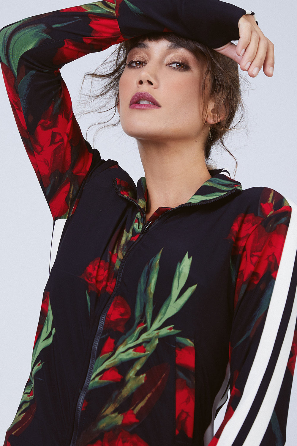 Side Stripe Turtle Jacket - Blooming Roses/Engineered Print