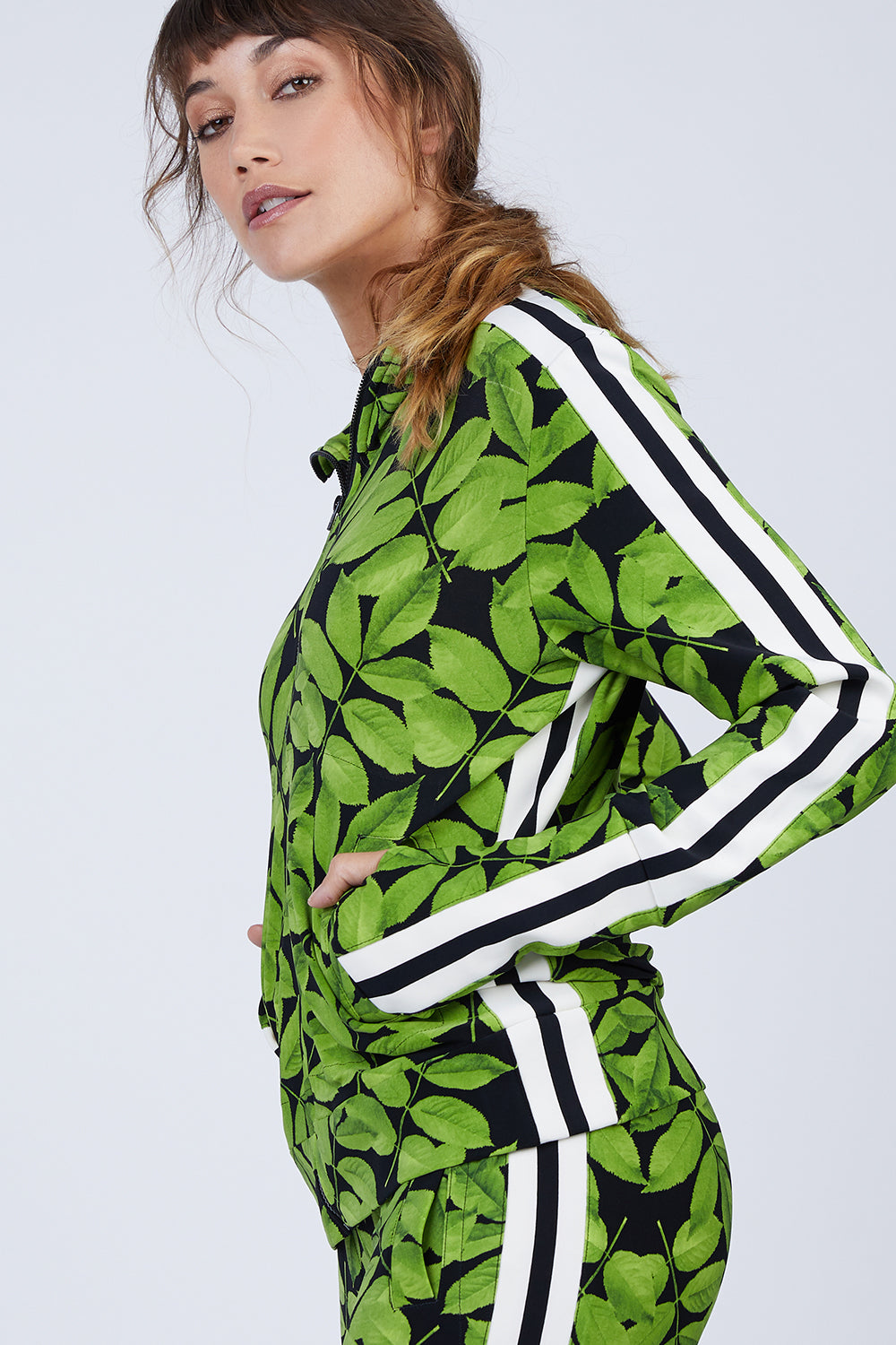 Side Stripe Turtle Jacket - Tree Leaf/Engineered Stripe Print