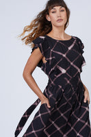 Tiered Pocketed Button Closure Shirred Elasticized Tie Waist Waistline Flutter Sleeves Rayon Maxi Dress With Ruffles