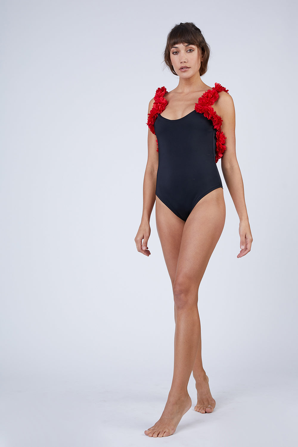 82f368e283 CANDY SWIMWEAR Floribean Flower Trim One Piece Swimsuit - Black/Red -  undefined undefined ...