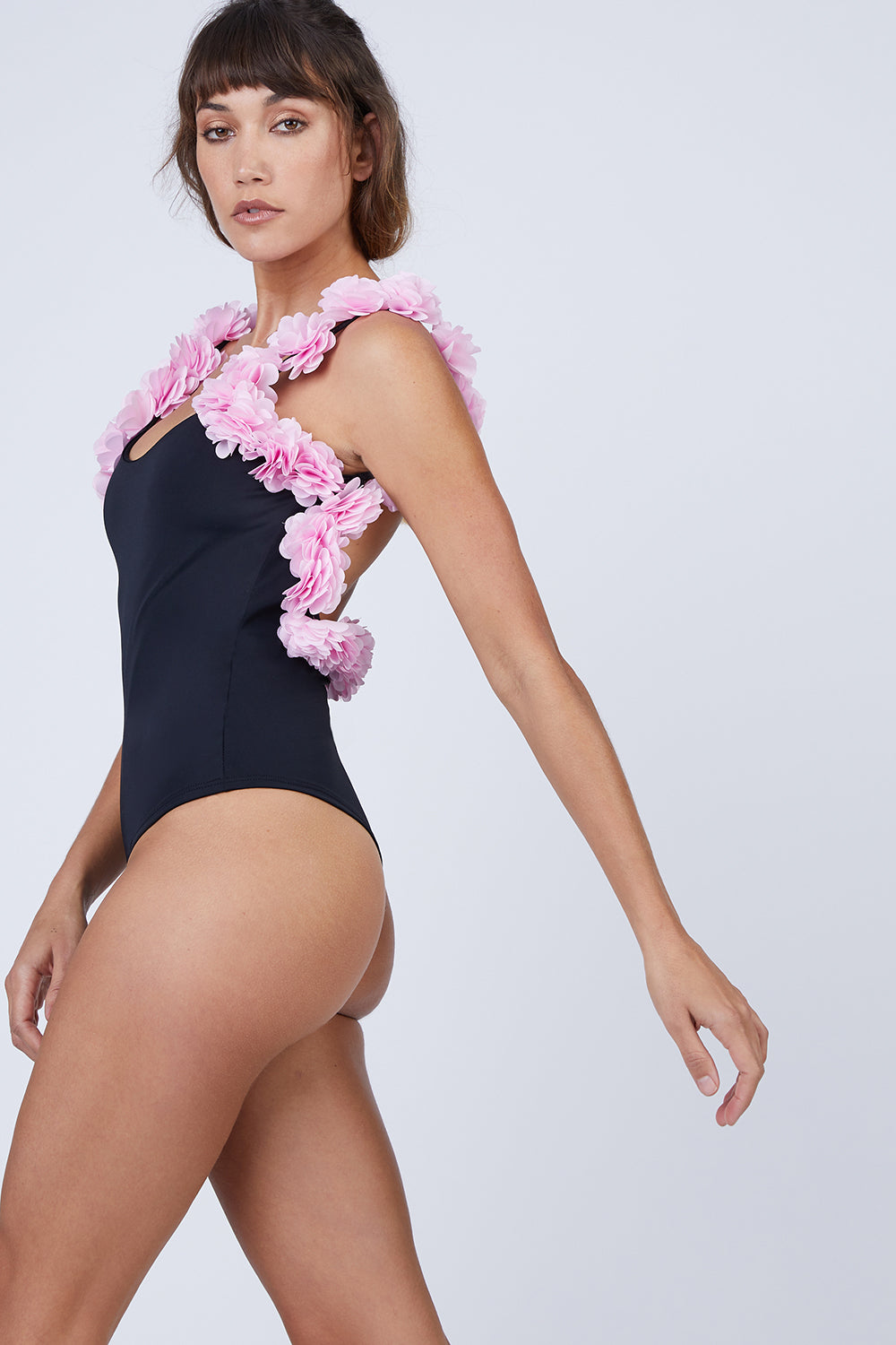 9ab651ebd0159 CANDY SWIMWEAR Floribean Flower Trim One Piece Swimsuit - Black Pink ...