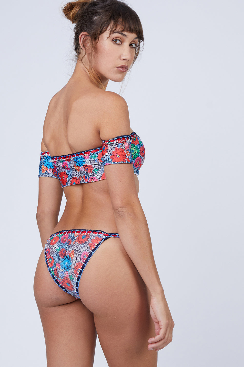 Fiamma Crochet Thin Strap Bikini Bottom - Blue & Red Floral Print