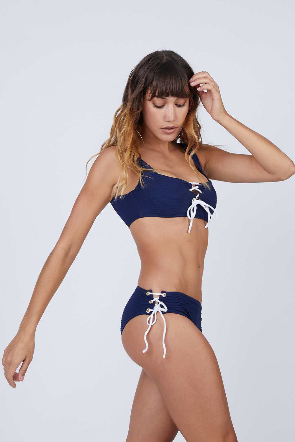 Ribbed Lace Up Mid Rise Bikini Bottom - Navy Blue