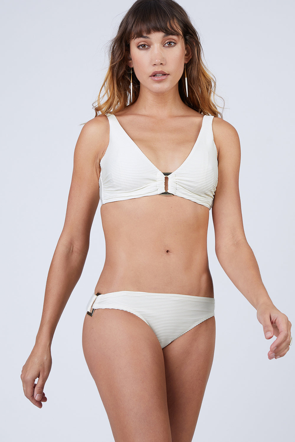 D-G Rectangle Ribbed Bikini Top - Cream White