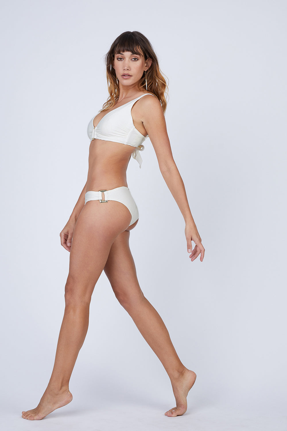 Rectangle Ribbed Bikini Bottom - Cream White
