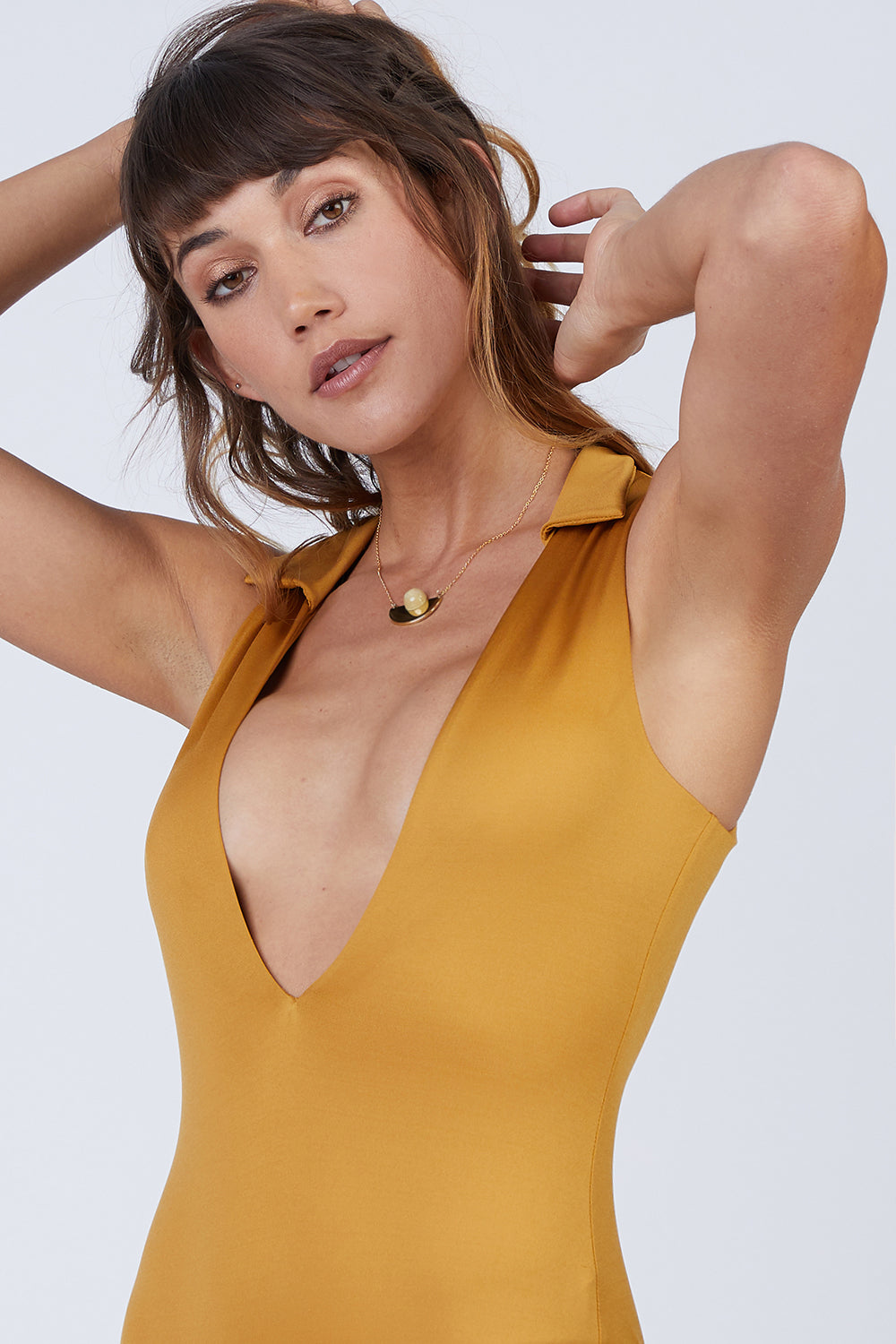 Collette Plunging One Piece Swimsuit - Gold