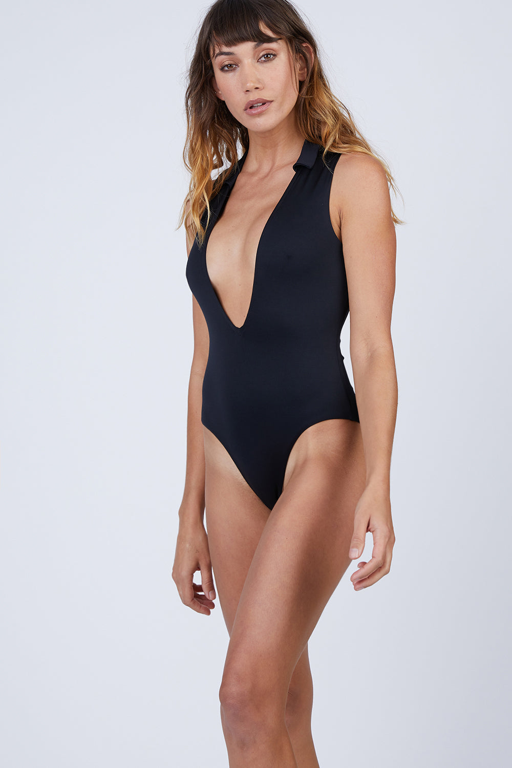 2065eba5dd1 AMAIO SWIM Colette Plunging One Piece Swimsuit - Black - undefined  undefined ...