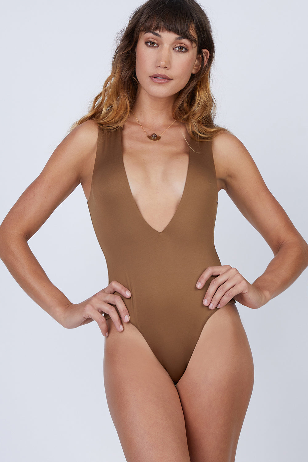 Collette Plunging One Piece Swimsuit - Umber Brown