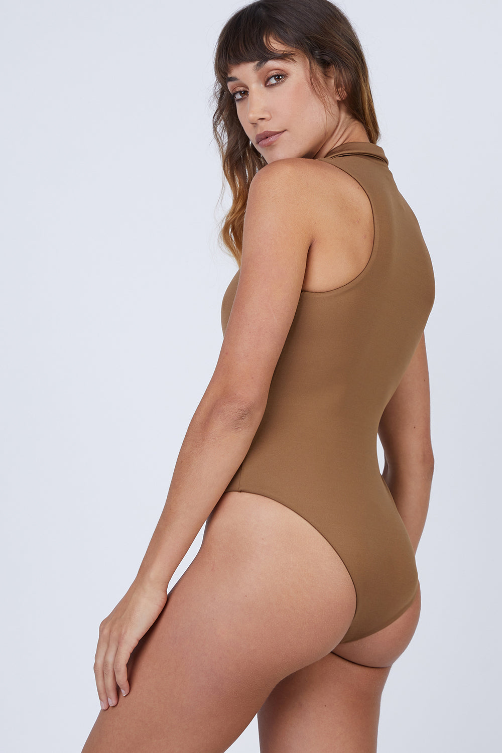 40d49f127b ... AMAIO SWIM Collette Plunging One Piece Swimsuit - Umber Brown -  undefined undefined