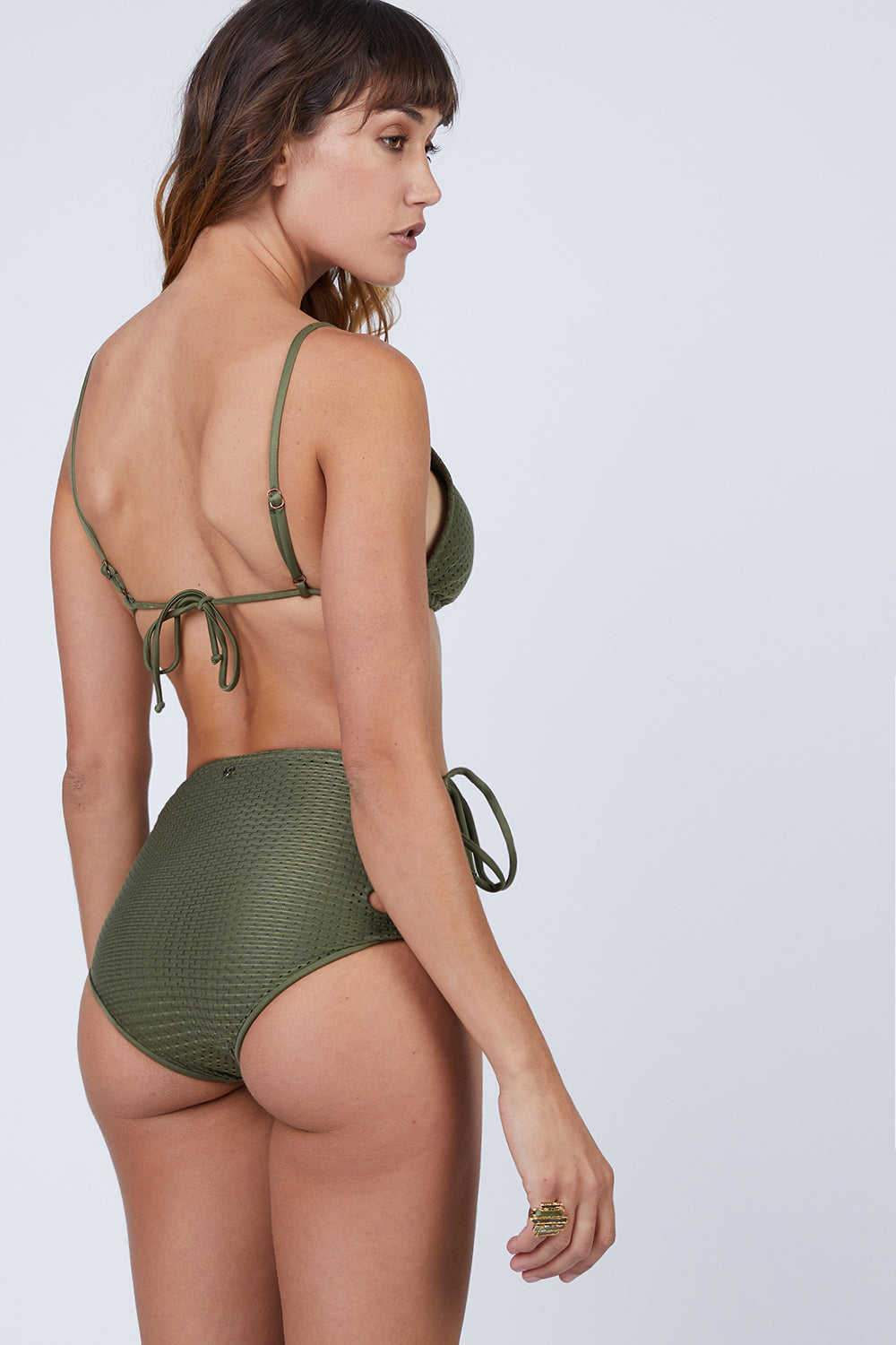 Hot Laces High Waisted Bikini Bottom - Olive Green