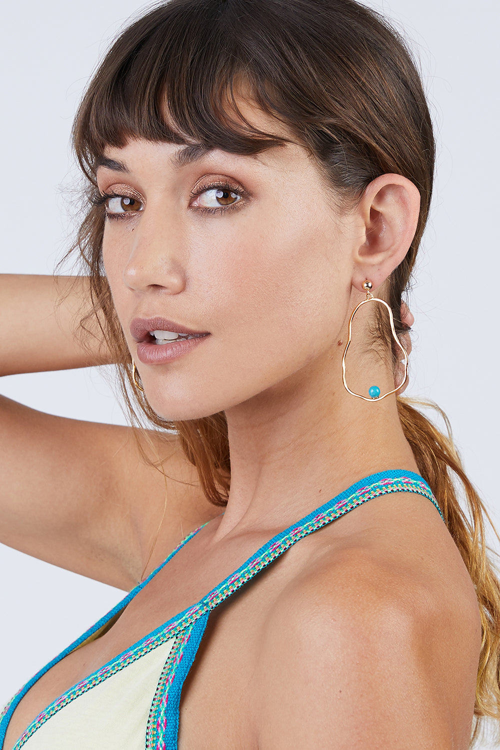 Ostrea Turquoise Hoop Earrings - Gold