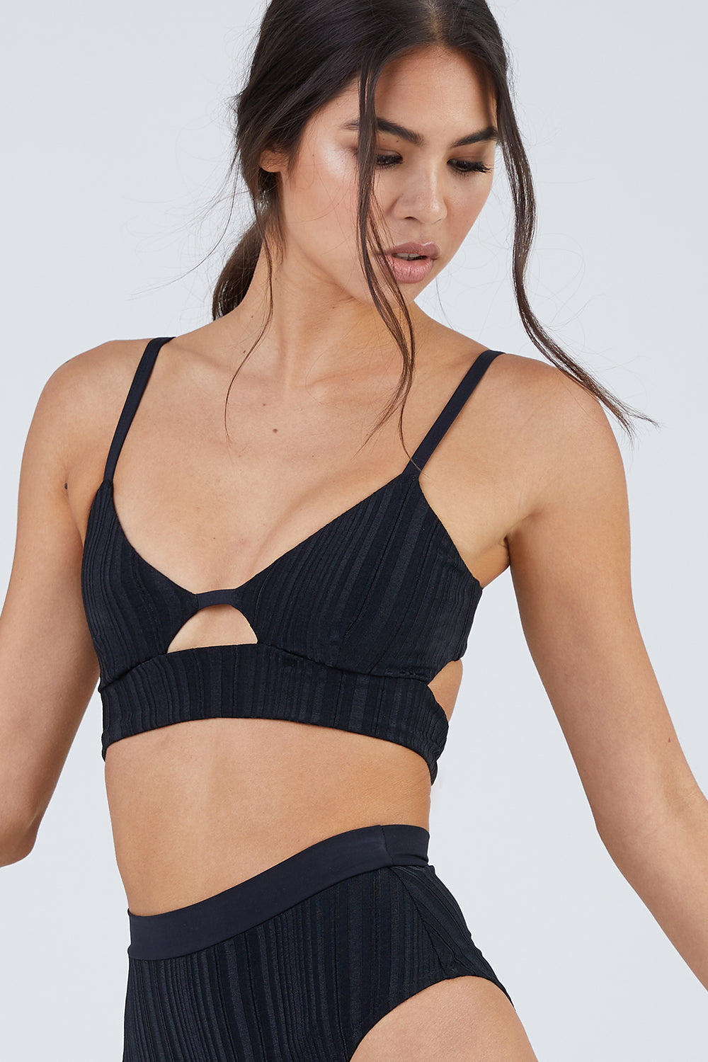 Juliet Ribbed Cut Out Bralette Bikini Top - Slinky Black