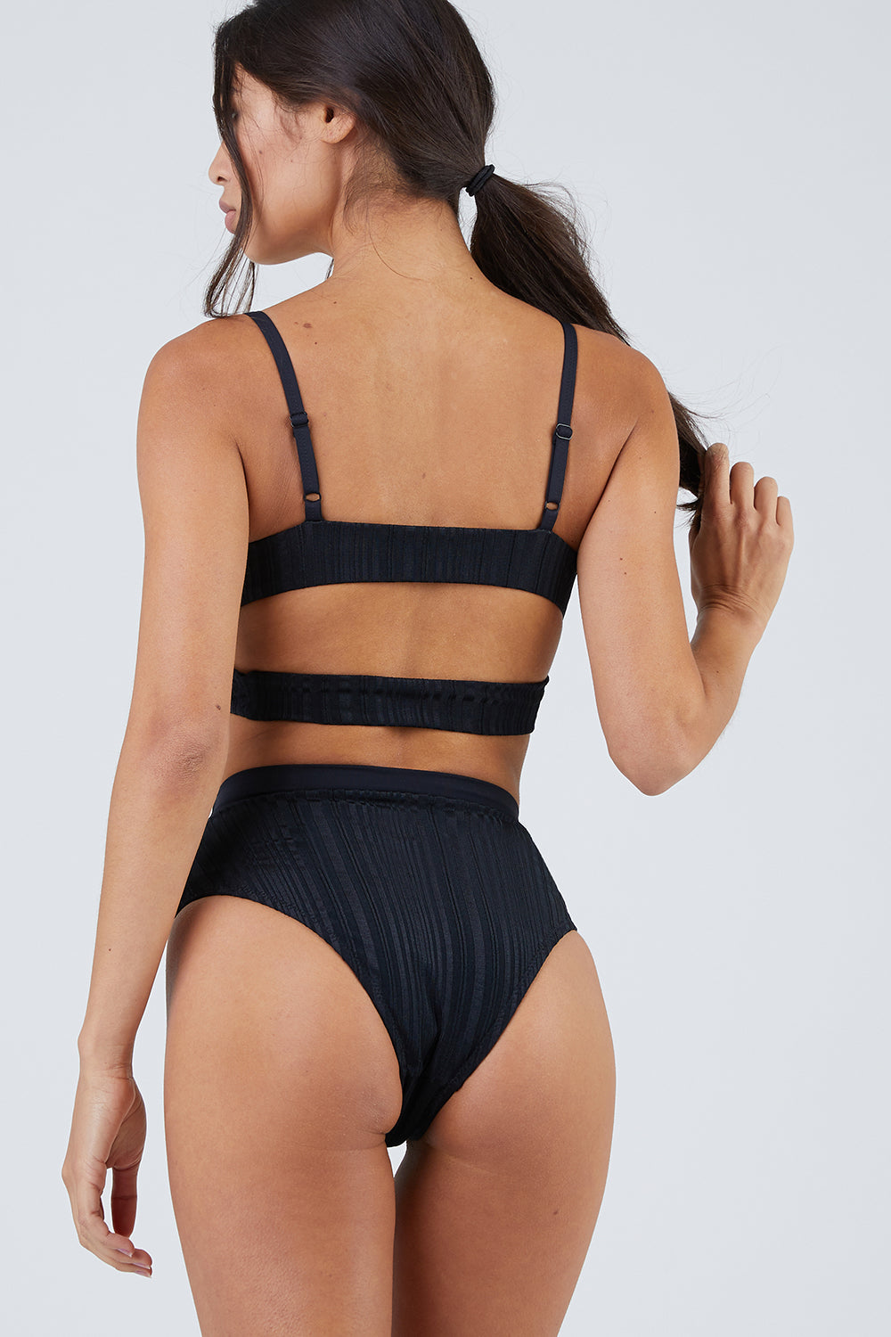 Pernille High Waisted Bottom -Slinky Rib Black