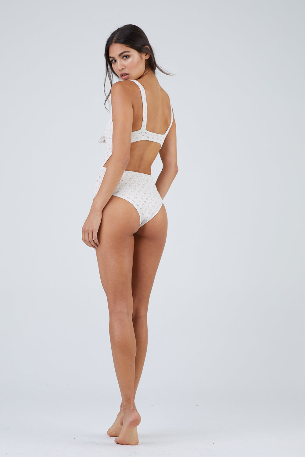 bc4f2c499d8 ... AMUSE SOCIETY Gwen Eyelet Front Tie Cut Out One Piece Swimsuit - Pebble  White - undefined