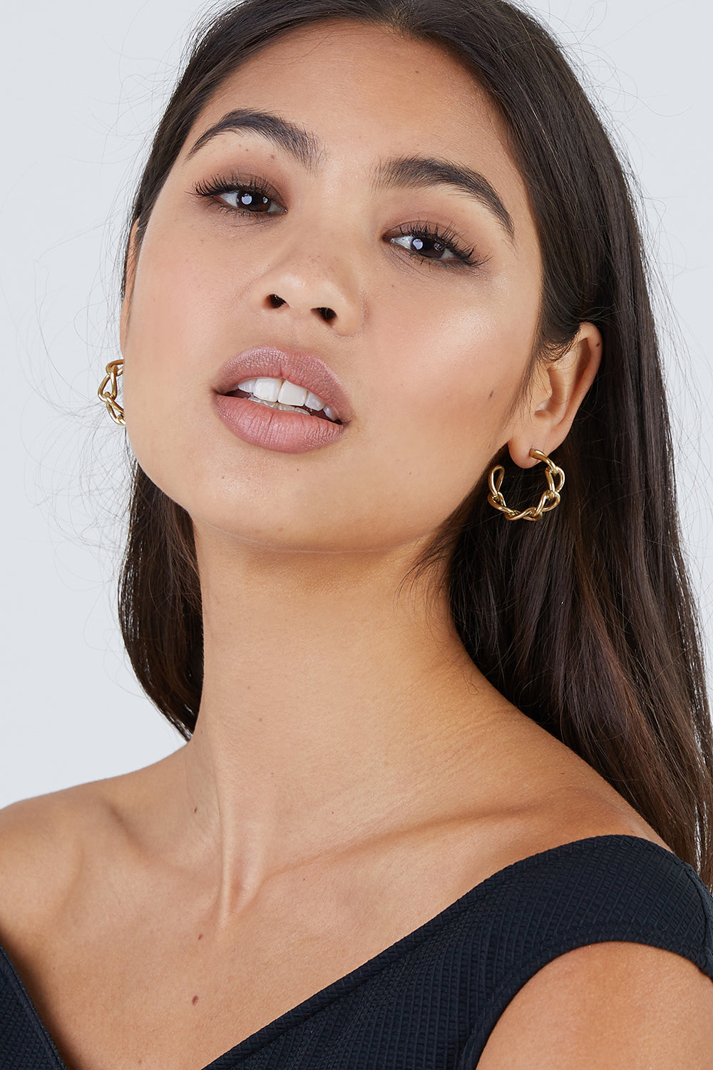 Fania Mini Hoop Earrings - Brass