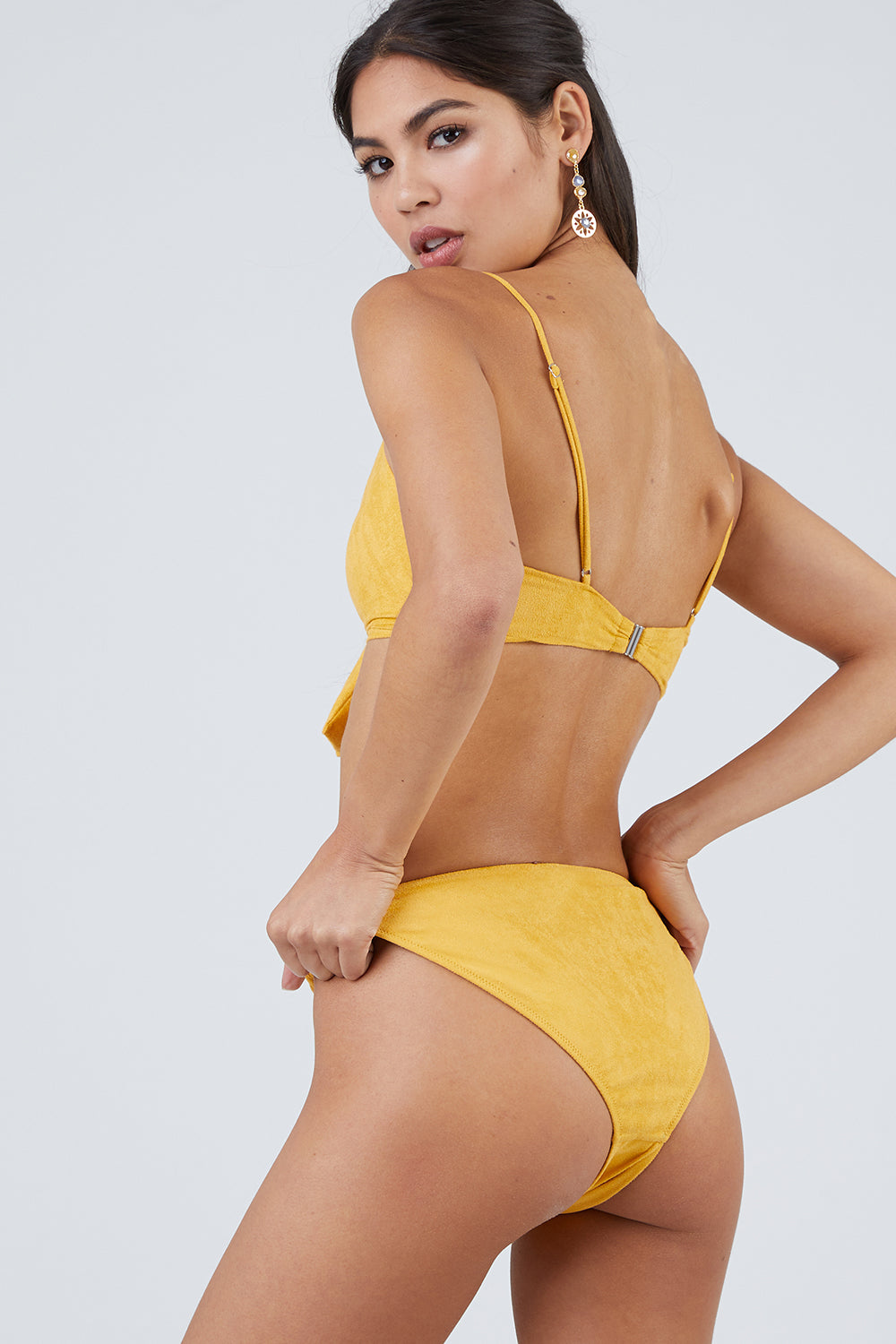 Start Me Up Suede Front Scrunch Bikini Bottom - Yellow