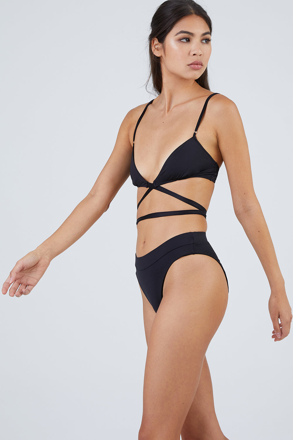 That 90's Vibe Wrap Bikini Top - Black