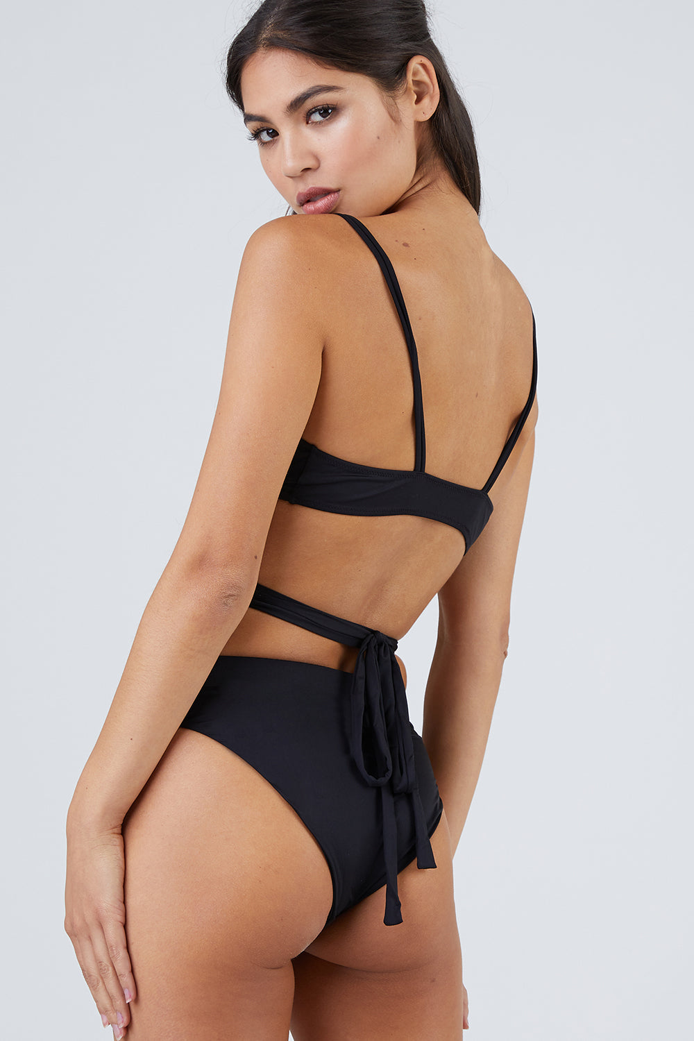 3ea481ec30470 MONICA HANSEN BEACHWEAR That 90's Vibe High Waisted Bikini Bottom - Black  Bikini Bottom | Black ...