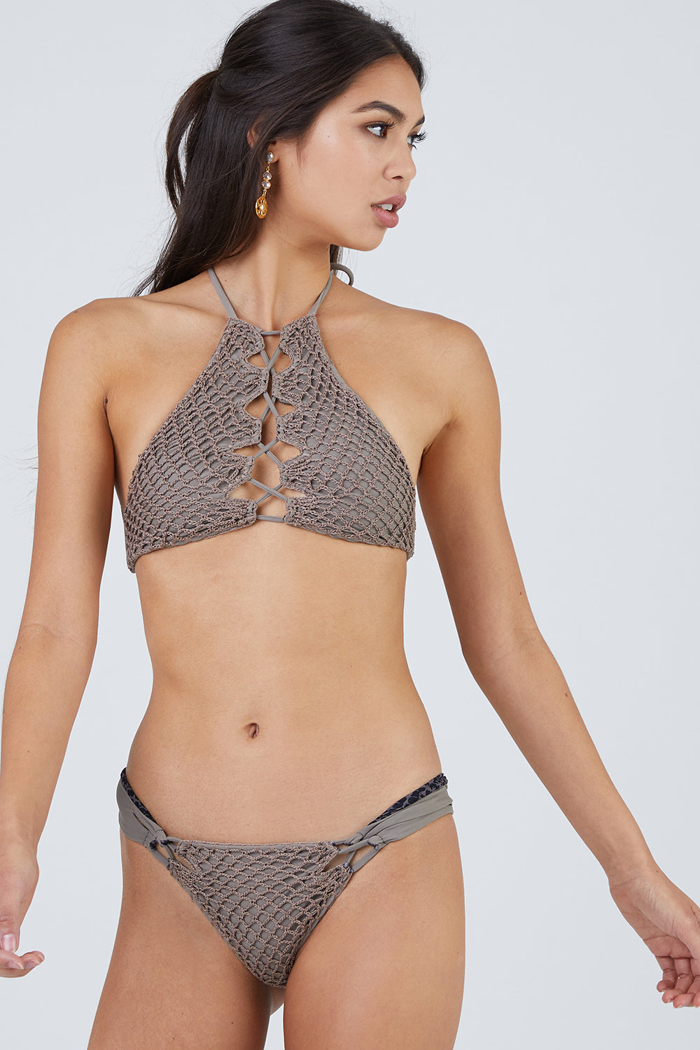 Lei Crochet High Neck Bikini Top - Cement Grey