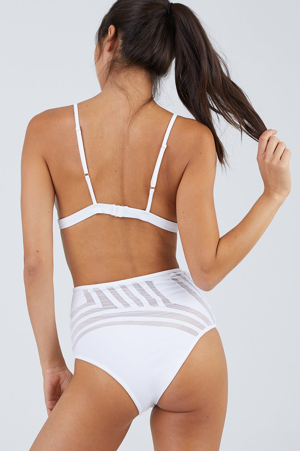 Desert Storm Mesh High Waisted Bikini Bottom - White