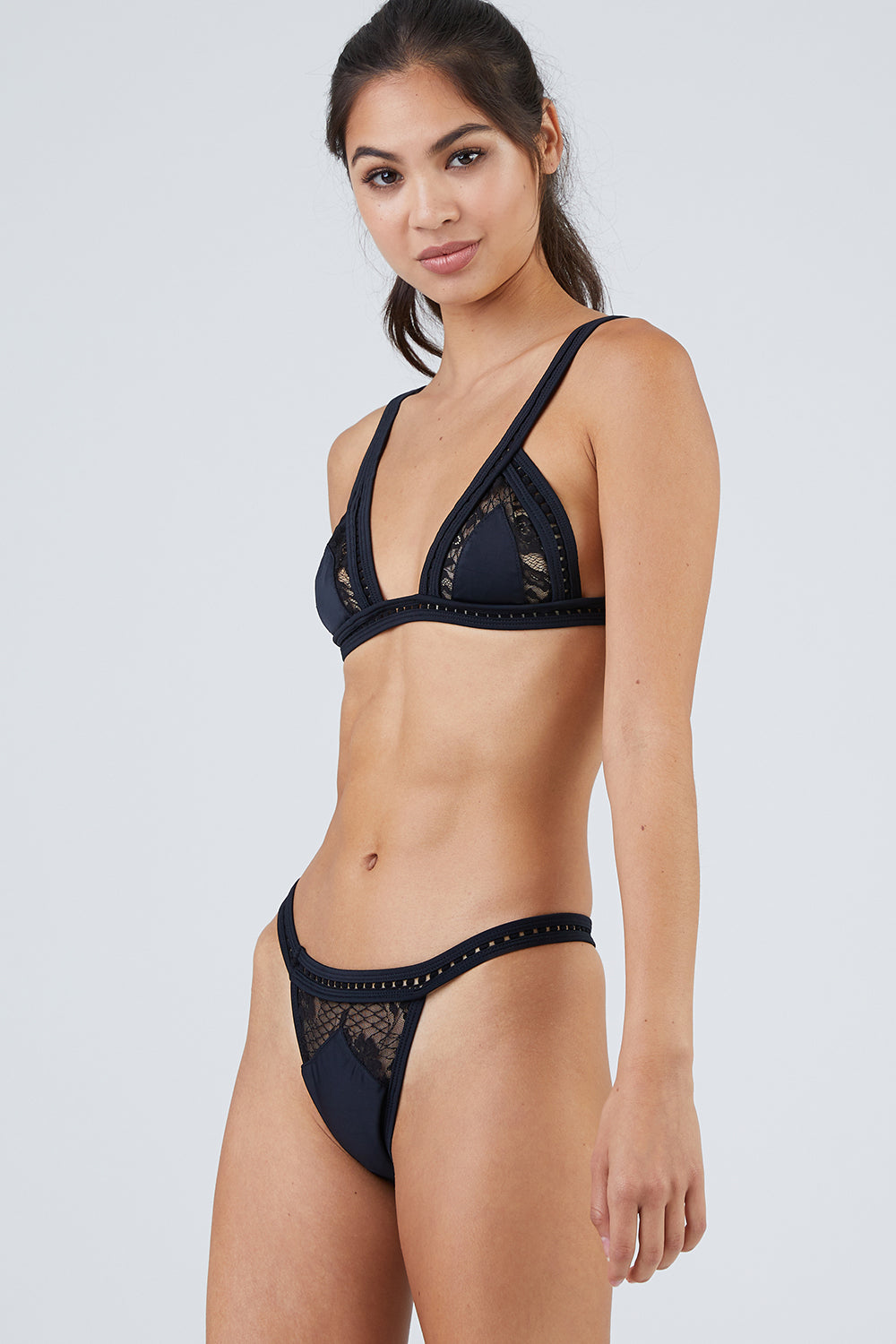 Folie Lace Triangle Bikini Top - Black