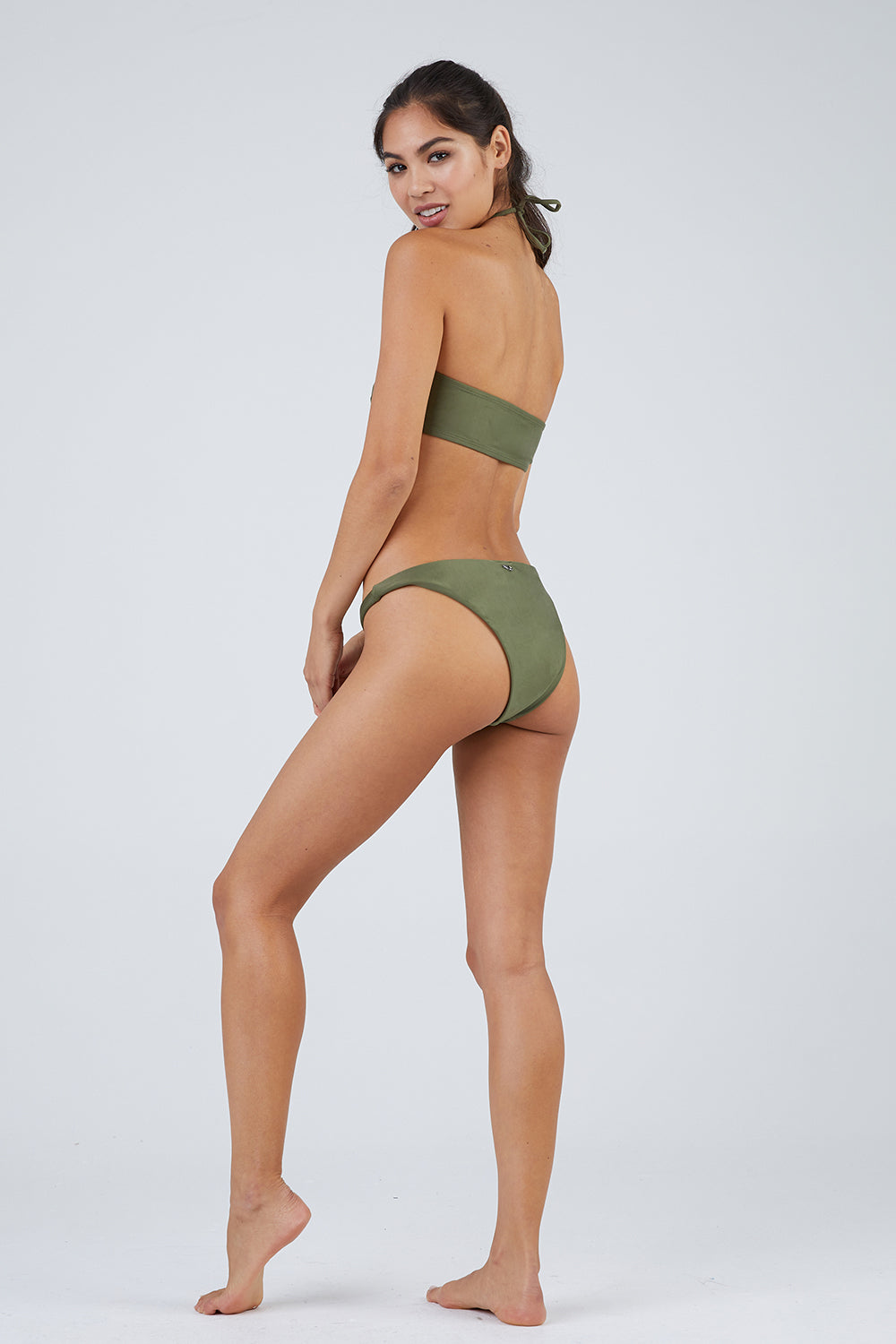 Lena Moderate Bikini Bottom - Snake Green