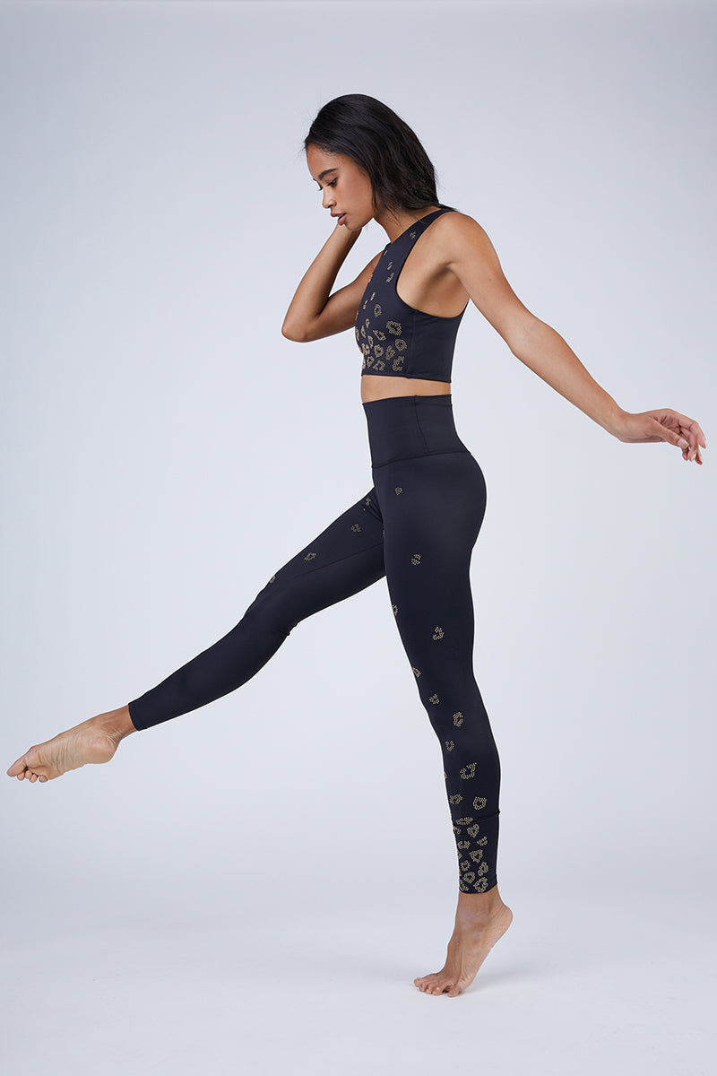 Tigra Beaded High Waist Leggings - Black Leopard Print