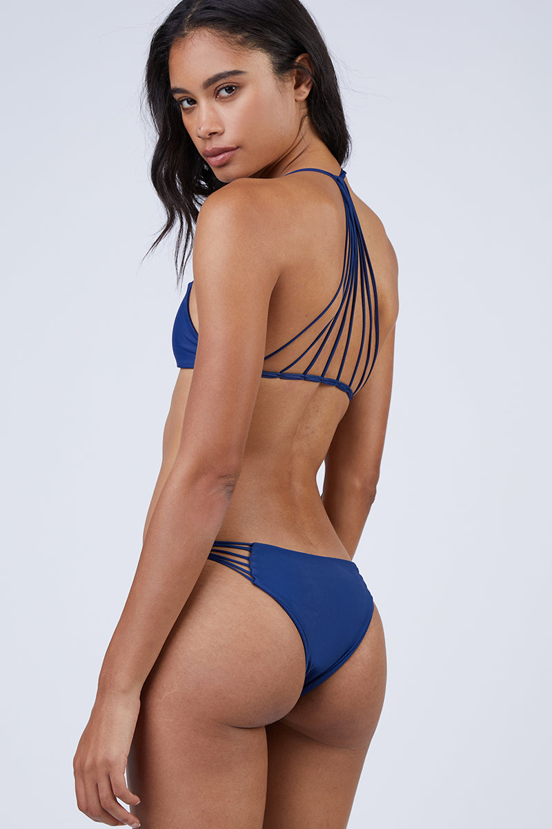 Lanai Strappy Cheeky Bikini Bottom - Coastal Blue