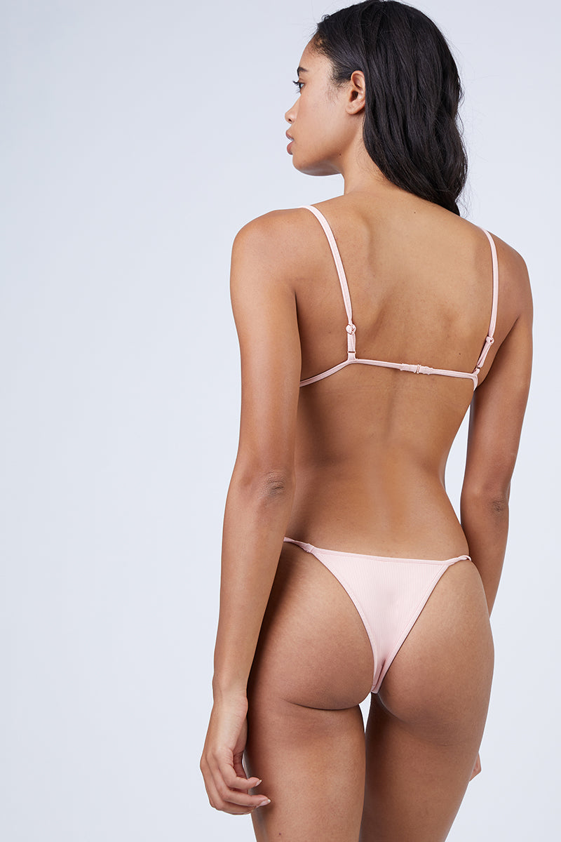 Low Tide Ribbed Skimpy Bikini Bottom - Bubblegum Pink