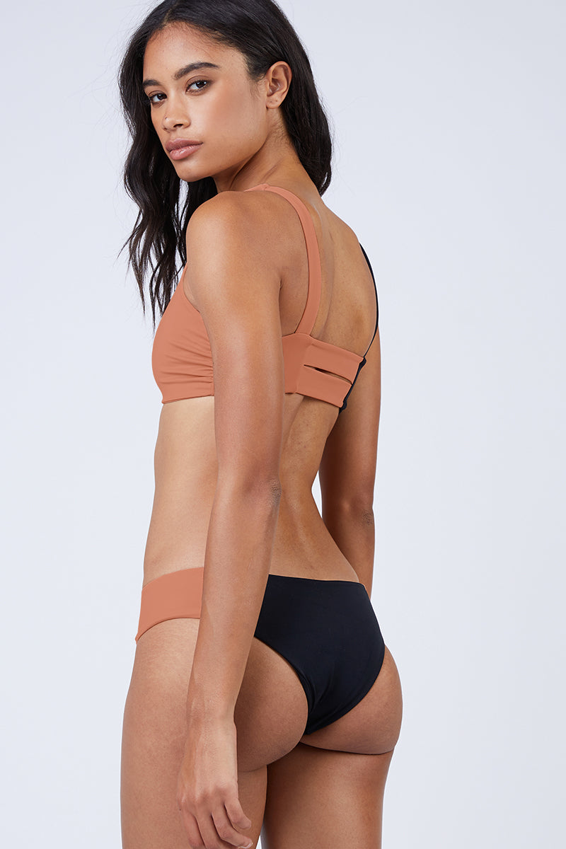 Macie Beaux Color Block Wide Strap Bikini Bottom - Black/Nude