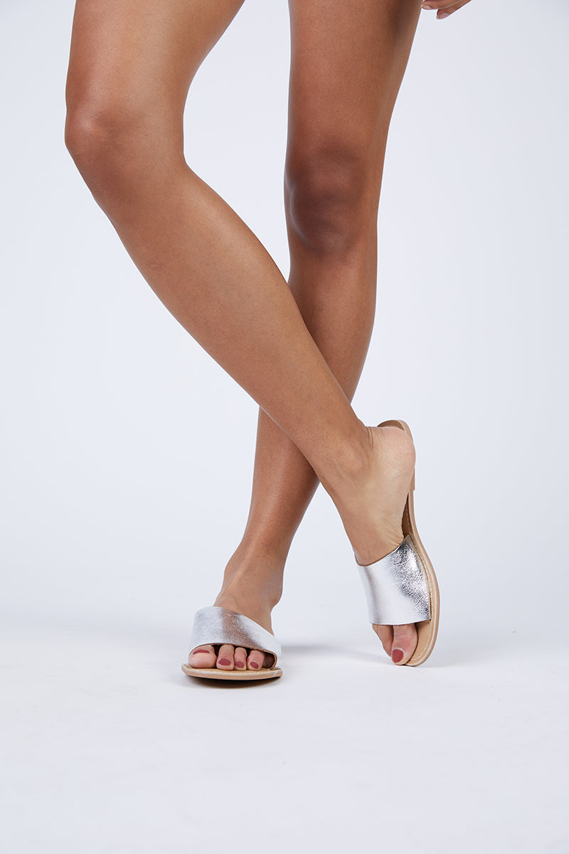 Cabana Leather Sandals - Silver