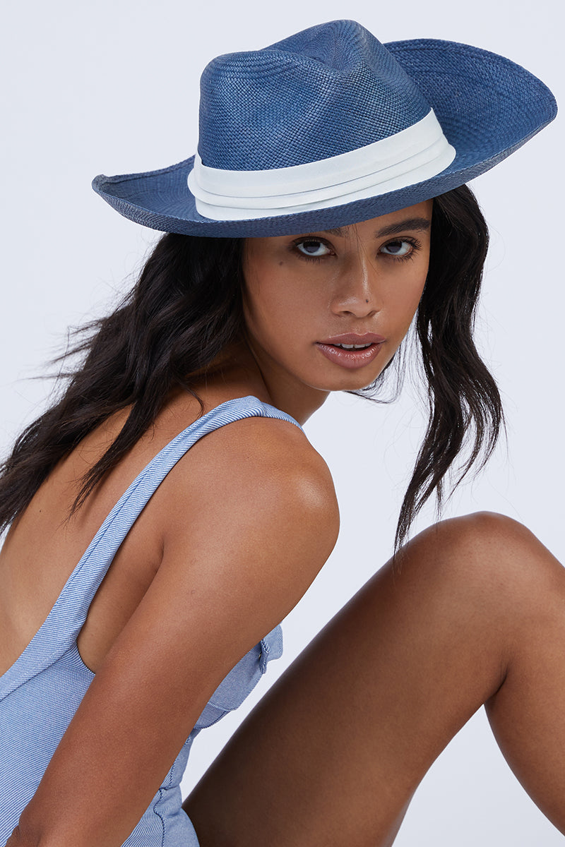 Coiba Straw Panama Hat - Blue