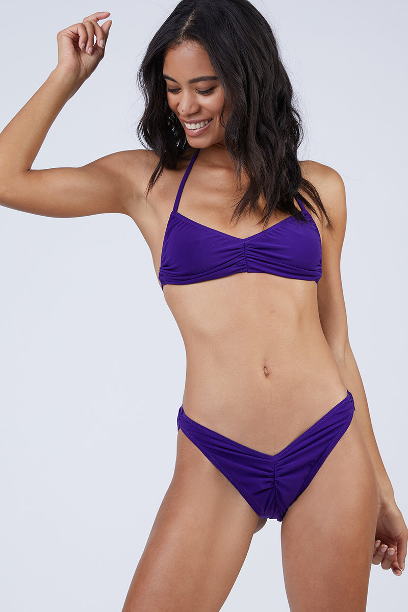 Butterfly Shirred Bandeau Bikini Top - Purple