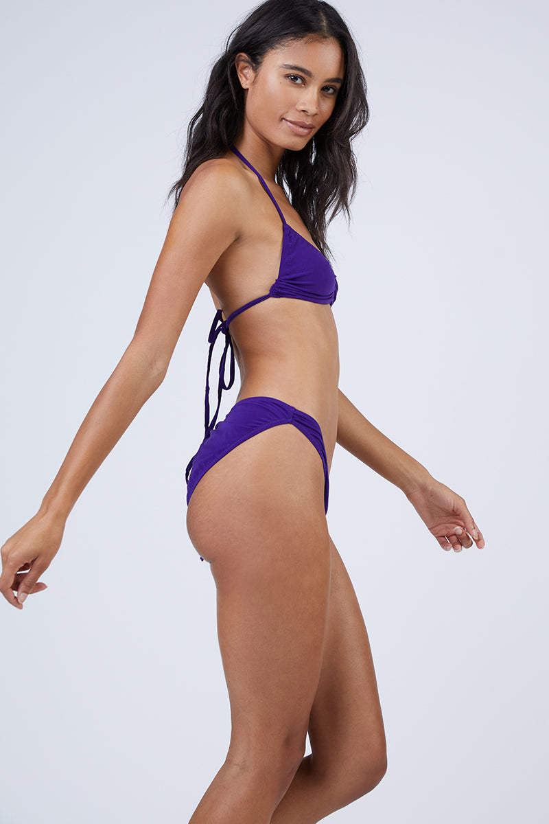 Butterfly Shirred High Cut Bikini Bottom - Purple
