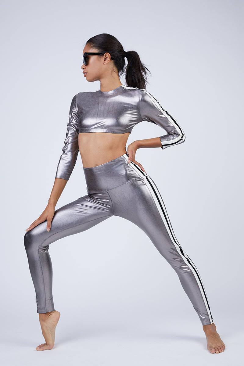 Side Stripe Leggings - Gunmetal Grey