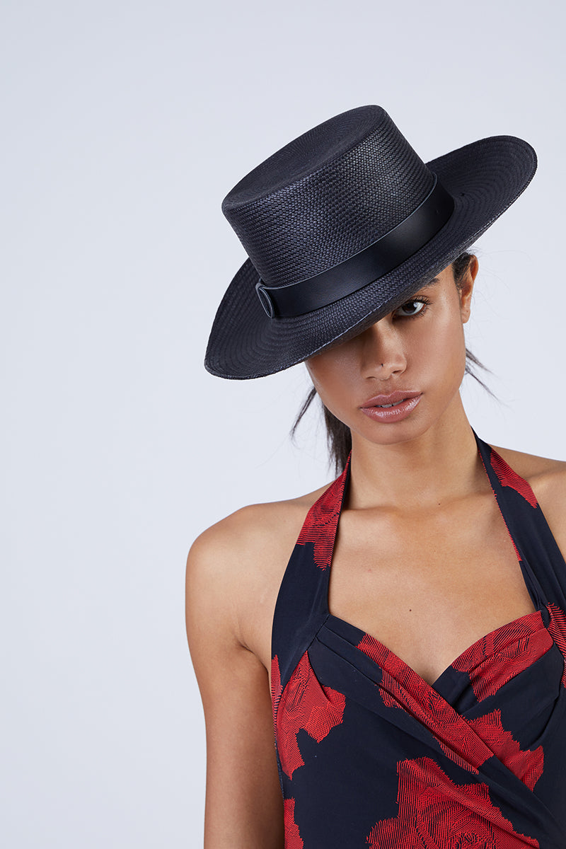 5b0c8924fe3 ... KAYU Palenque Straw Boater Hat - Black - undefined undefined
