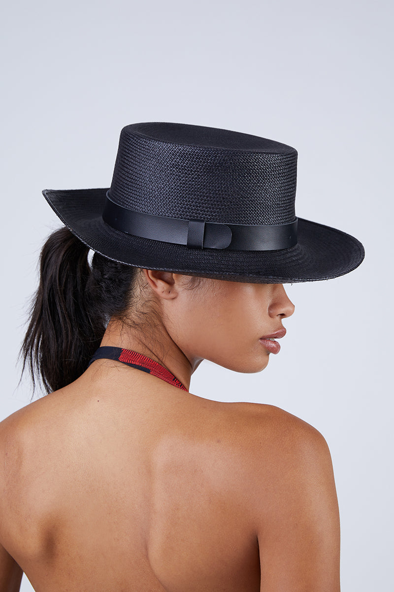 Palenque Straw Boater Hat - Black